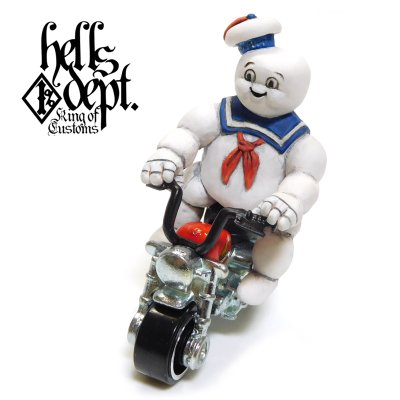 Photo1: HELLS DEPT 【MARSHMALLOW MAN FIGURE with HONDA MONKEY (HAND PAINTED)】(RESIN FIGURES)