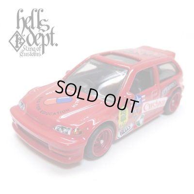 "Photo1: JDC13 【""HELLS"" '90 HONDA CIVIC EF (FINISHED PRODUCT)】 RED/RR (MYSTERY PACKED)"